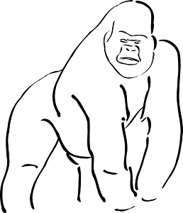 Gorilla outline immagine clipart