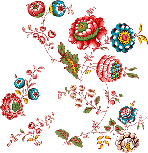 Serpentine pattern of flowers and foliage clipart