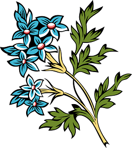 Sprig of small clusters of blue flowers clipart