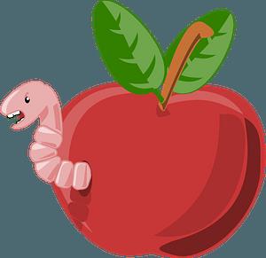 Cartoon apple with worm clipart