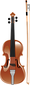 Violin with bow clipart