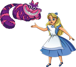 Alice in Wonderland and Cheshire Cat clipart