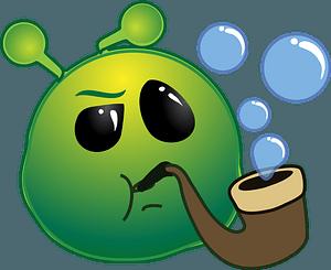 Smiley green alien sherlock clipart