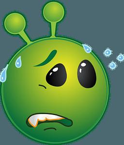 Smiley green alien worried clipart