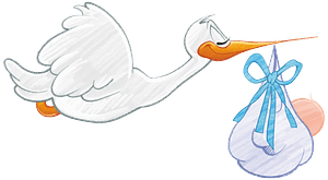 Stork carrying baby boy clipart