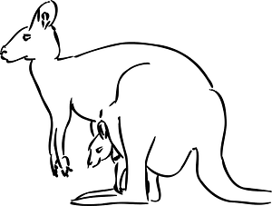 Kangaroo mom and baby Outline clipart