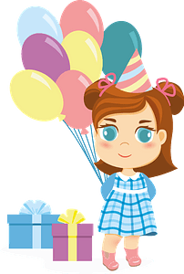 Little girl birthday clipart