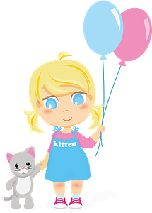 Little girl with balloons and kitten clipart