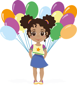 Birthday girl with balloons clipart