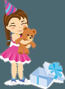 Little girl hugging a new teddy bear clipart