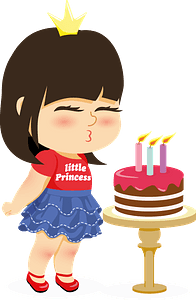 Little girl blowing out candles clipart
