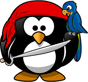 Pirate penguin and parrot clipart