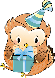 Cute owl with gift clipart