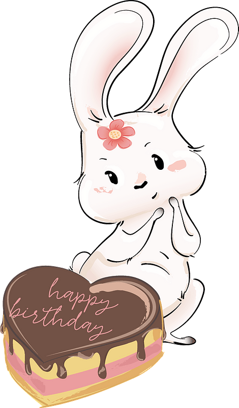 Incredible Cute Bunny With Her Birthday Cake Clipart Free Download Birthday Cards Printable Trancafe Filternl