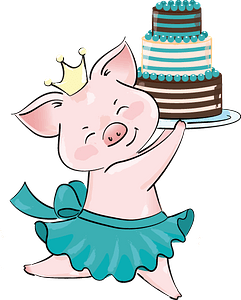 Cute pig princess with birthday cake clipart