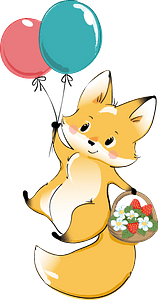 Cute fox with balloons clipart