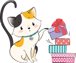 Cute cat with gifts boxes clipart