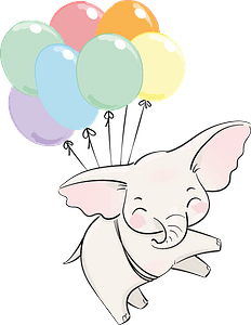 Cute elephant flying with balloons clipart