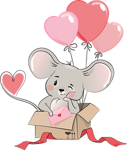 Cute mouse in gift box clipart