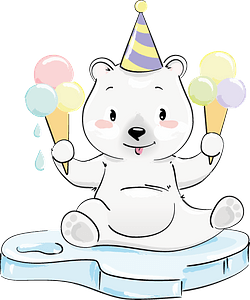 Cute polar bear with ice cream clipart