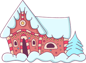 Winter house clipart