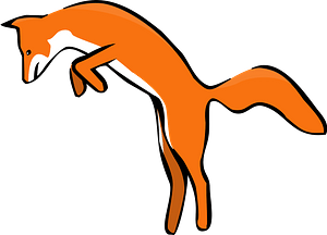Leaping red fox clipart