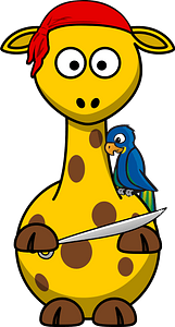 Giraffe pirate clipart