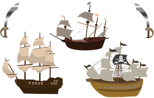 Three pirate ships clipart