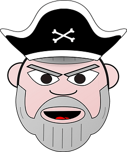 Grey beard pirate face clipart