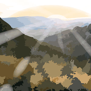 Sunrise over mountains emoji clipart
