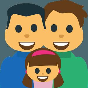 Family: Man, Man, Girl emoji clipart