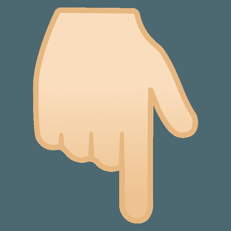 Pele clara dorso da mão com dedo indicador apontando para baixo clipart.  Download grátis. | Creazilla