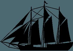 Шхунер - векторний силует