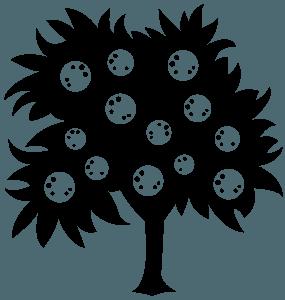 Appelsintræ vektor silhuet