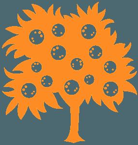 Drzewo pomarańczy - sylwetka wektorowa