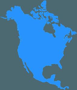 Mappa dell'America del Nord silhouette