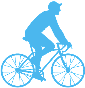 Мужчина на велосипеде - Векторный Силуэт