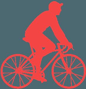 Homme à vélo silhouette