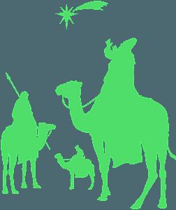 De tre vise männen och Betlehemsstjärnan silhuett