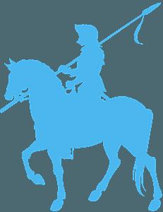 Ridder på hest vektor silhuet