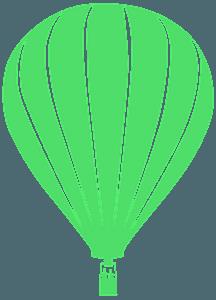 Heteluchtballon tijdens de vlucht vector silhouet