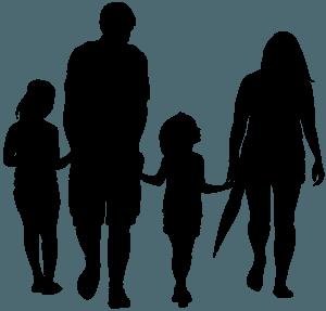 Rodzina trzymająca się za ręce - sylwetka wektorowa