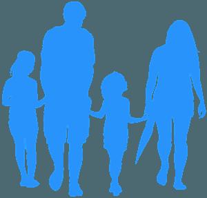 Famille se tenant les mains silhouette