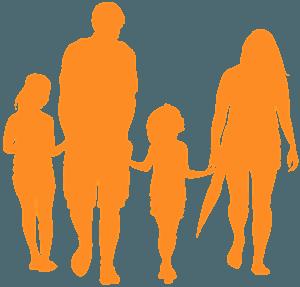 Сім'я тримаючись за руки - векторний силует