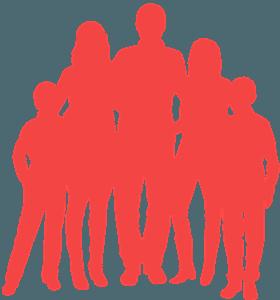 Silueta de Familia de 5 Miembros vector