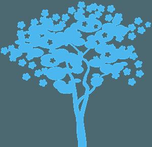 桃花树的剪影