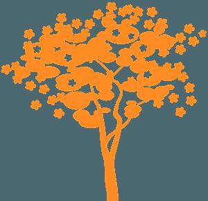 Kukkaispuu siluetti
