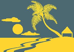 Scena plażowa - sylwetka wektorowa
