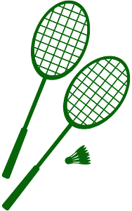 Badminton Rackets and Shuttlecock silhouette