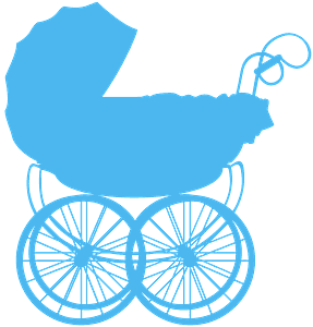 Детская коляска - Векторный Силуэт